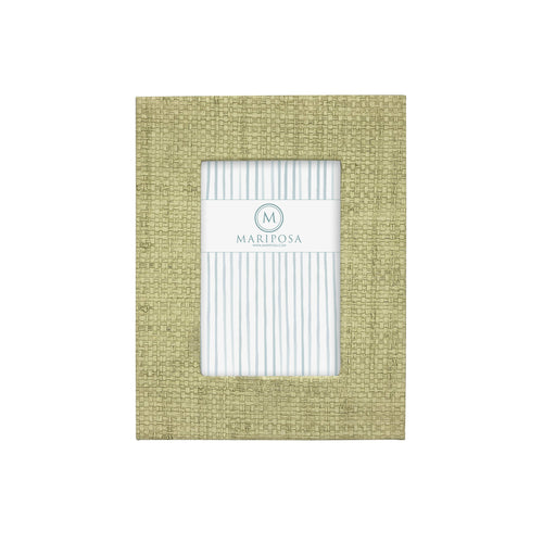 Chartreuse Faux Grasscloth 4x6 Frame | Mariposa