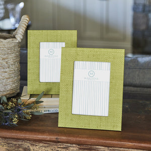 Chartreuse Faux Grasscloth 4x6 Frame-Decorative Photo Frames | Mariposa