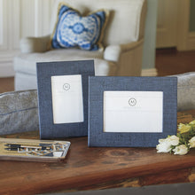 Load image into Gallery viewer, Indigo Blue Faux Grasscloth 4x6 Frame-Decorative Photo Frames | Mariposa