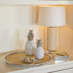 Sand Faux Grasscloth Column Table Lamp-Lighting | Mariposa