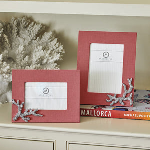 Coral Linen with Coral Icon 4x6 Frame-Decorative Photo Frames | Mariposa