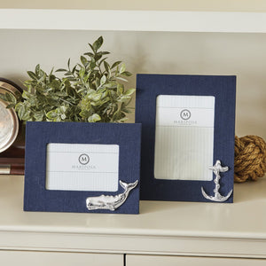 Navy Blue Linen with Whale Icon 4x6 Frame-Decorative Photo Frames | Mariposa