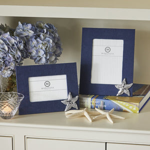 Navy Blue Linen with Starfish Icon 4x6 Frame-Decorative Photo Frames | Mariposa