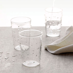 Appliqué White Dotty DOF Glass-Glassware | Mariposa