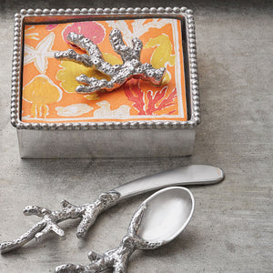 Coral Beaded Napkin Box-Napkin Boxes and Weights | Mariposa