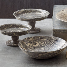 Load image into Gallery viewer, Mariposa Gray Marble Ceramic Small Cookie + Cake Stand + Serving Bowl