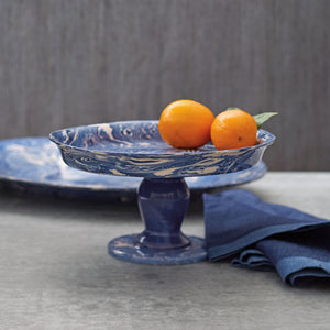 Mariposa Cobalt Marble Ceramic Cookie + Cake Stand + Platter