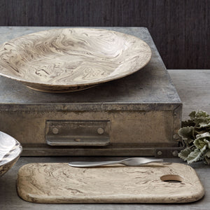 Mariposa Stone Marble Ceramic Oval Platter + Cheese Board