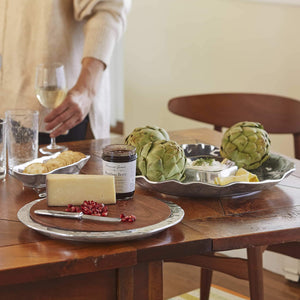Shimmer Round Cheese Board, Dark Wood-Serving Trays and More-|-Mariposa