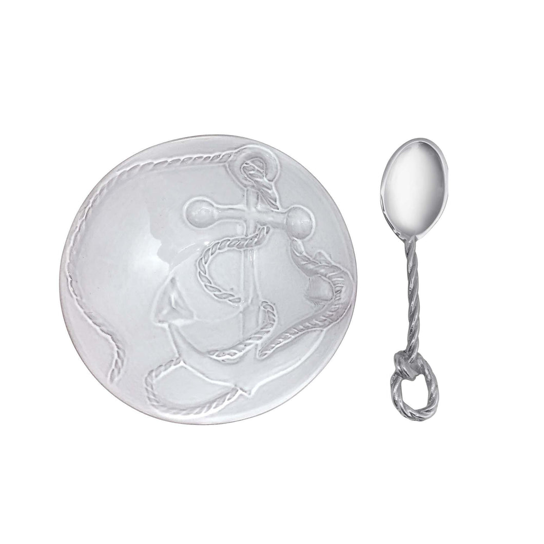Anchor Ceramic Nut Dish with Rope Spoon | Mariposa Nut and Sauce Dishes