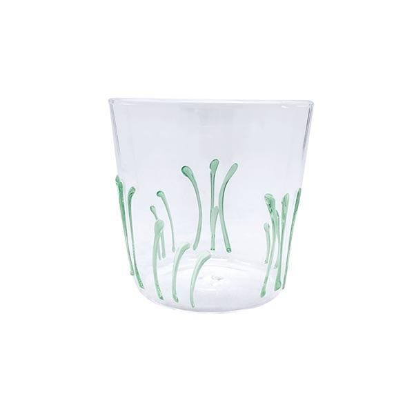 Appliqué Green Seagrass DOF Glass | Mariposa Glassware