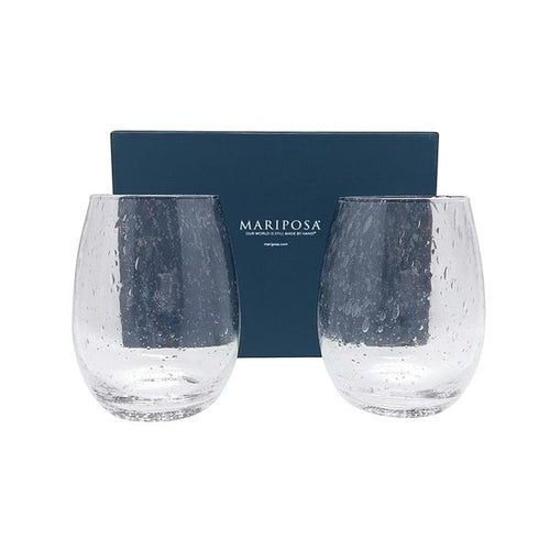 Bellini Stemless Wine Glass Gift Box | Mariposa Glassware