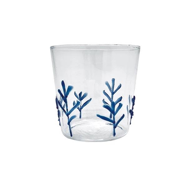 Blue Appliqué Branches Double Old Fashion Glass