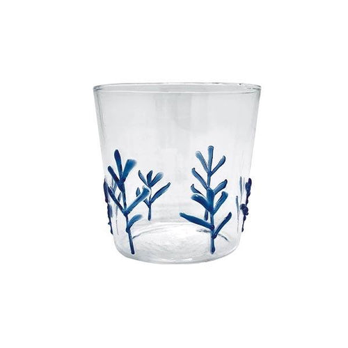 Blue Appliqué Branches Double Old Fashion Glass | Mariposa Glassware