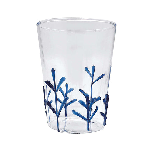 Blue Appliqué Branches Highball Glass | Mariposa Glassware