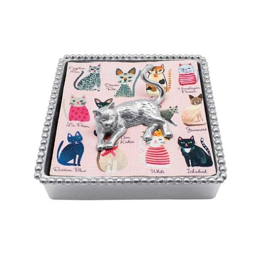 Cat Beaded Napkin Box | Mariposa Napkin Boxes and Weights