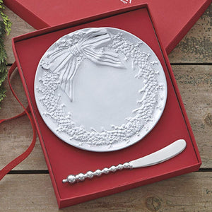 Ceramic Wreath Canape Plate & Beaded Spreader-Canape and Small Plates-|-Mariposa