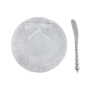 Ceramic Wreath Canape Plate & Beaded Spreader | Mariposa Canape and Small Plates