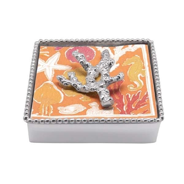 Coral Beaded Napkin Box | Mariposa Napkin Boxes and Weights