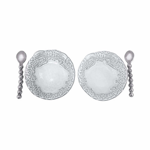 Mariposa | Dotty Wreath Ceramic Open Salt Spoon Set-Canape and Small Plates-Mariposa