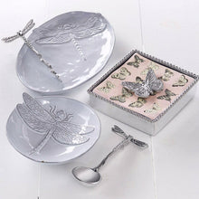 Load image into Gallery viewer, Dragonfly Ceramic Canape Plate with Dragonfly Spoon-Canape and Small Plates-|-Mariposa