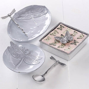 Dragonfly Ceramic Canape Plate with Dragonfly Spoon-Canape and Small Plates-|-Mariposa