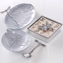 Load image into Gallery viewer, Dragonfly Ceramic Oval Plate with Dragonfly Spreader-Ceramics-|-Mariposa