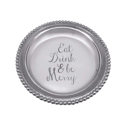 EAT DRINK & BE MERRY Beaded Trinket Dish | Mariposa Gifts and Accessories