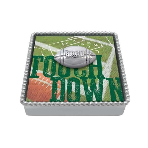 Football Beaded Napkin Box | Mariposa Napkin Boxes and Weights