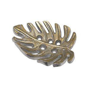 Gold Tropical Leaf Napkin Weight | Mariposa Napkin Boxes and Weights