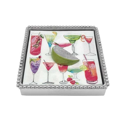 Green Lime Beaded Napkin Box | Mariposa Napkin Boxes and Weights