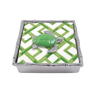 Green Sea Turtle Bamboo Napkin Box | Mariposa Napkin Boxes and Weights
