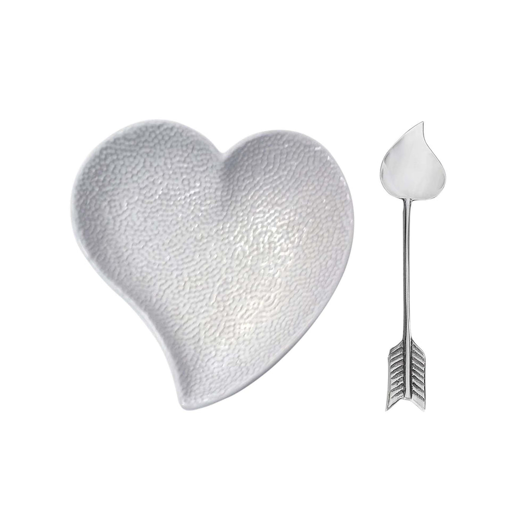 Heart Ceramic Dish with Arrow Spoon | Mariposa Ceramics