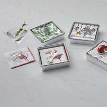 Load image into Gallery viewer, Holiday Cocktail Beaded Napkin Box-Napkin Boxes and Weights | Mariposa