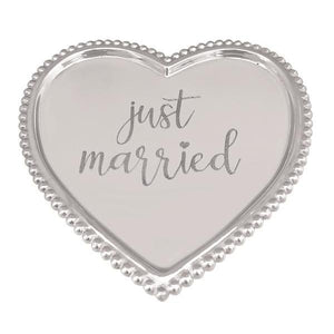 JUST MARRIED Beaded Heart Tray | Mariposa Serving Trays and More