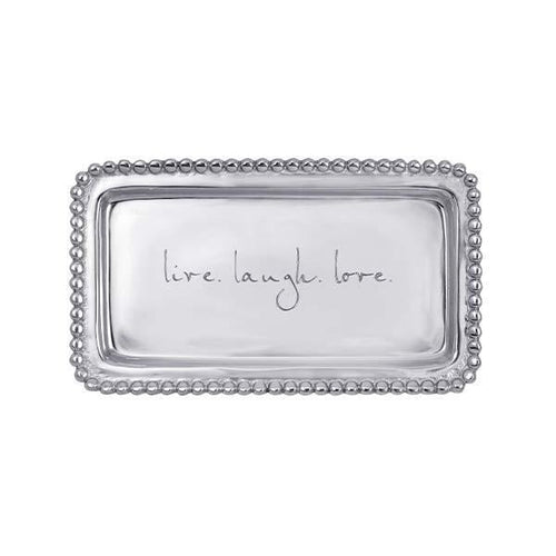 LIVE.LAUGH.LOVE Beaded Statement Tray | Mariposa Statement Trays