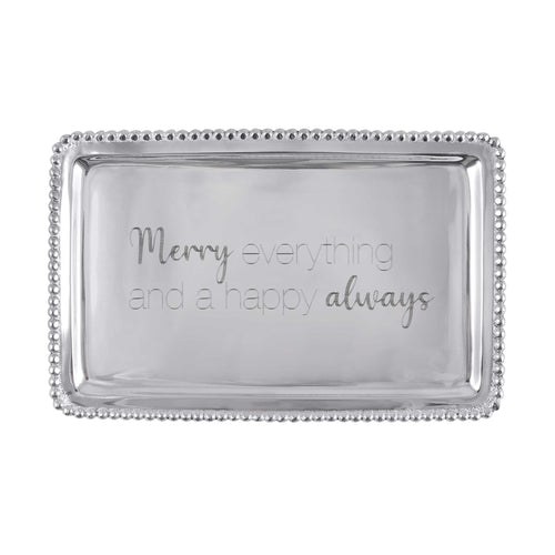 MERRY EVERYTHING AND A HAPPY ALWAYS Beaded Buffet Tray -Statement Trays | Mariposa
