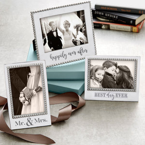 MR. & MRS. Beaded 5x7 Vertical Frame-Photo Frames-|-Mariposa