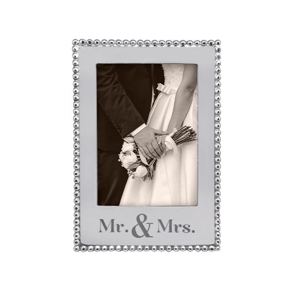 MR. & MRS. Beaded 5x7 Vertical Frame | Mariposa Photo Frames