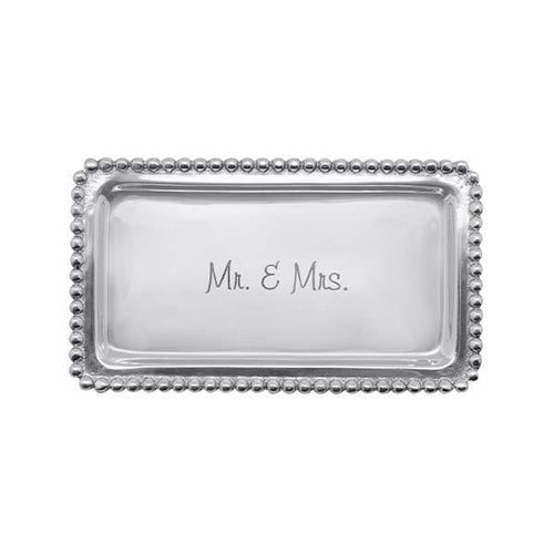 MR.& MRS. Beaded Statement Tray | Mariposa Statement Trays