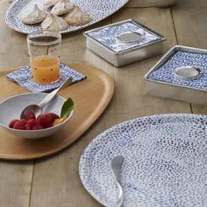 Mustique Ceramic Canape Plate with Rattan Spoon-Ceramics-|-Mariposa
