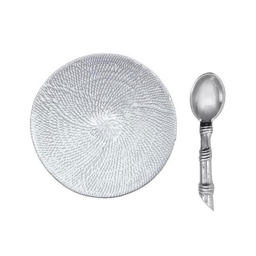Mustique Ceramic Canapé Plate with Rattan Spoon-Ceramics | Mariposa
