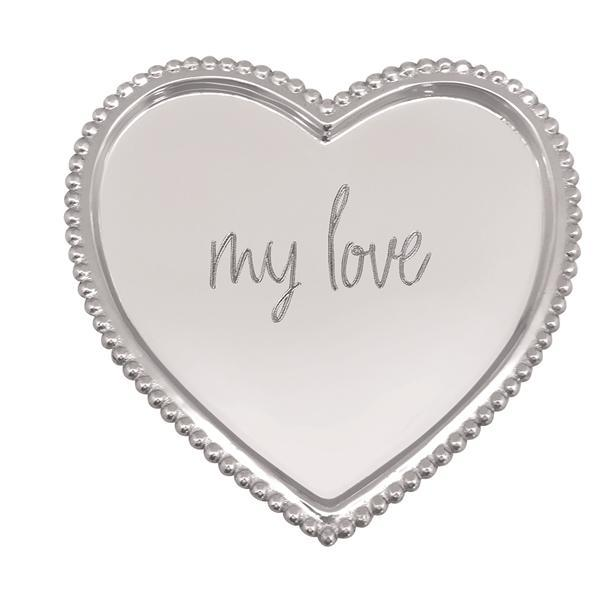 MY LOVE Beaded Heart Tray | Mariposa Serving Trays and More