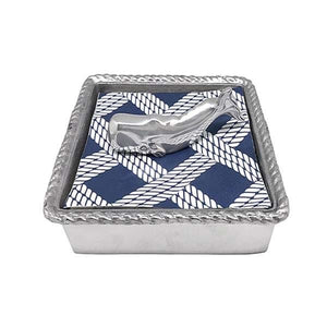 Nantucket Whale Rope Napkin Box | Mariposa Napkin Boxes and Weights