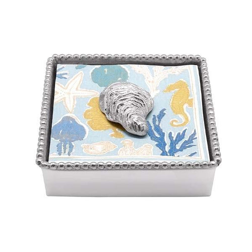 Oyster Beaded Napkin Box | Mariposa Napkin Boxes and Weights