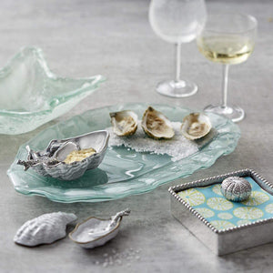 Oyster Dish with Coral Spoon-Table Accessories-|-Mariposa