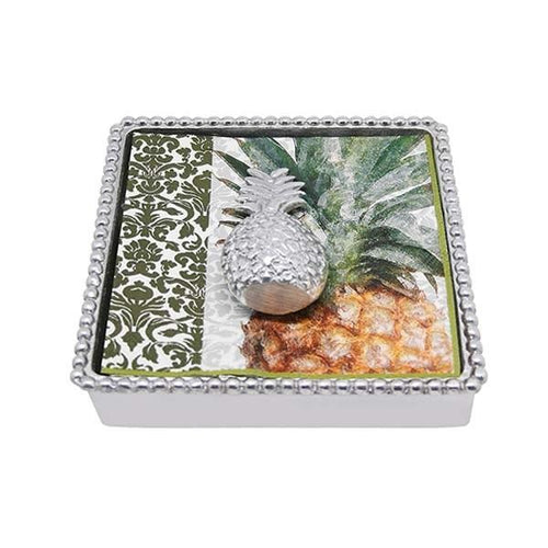 Pineapple Beaded Napkin Box | Mariposa Napkin Boxes and Weights