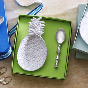 Pineapple Ceramic Canape Plate with Bamboo Spoon-Ceramics-|-Mariposa