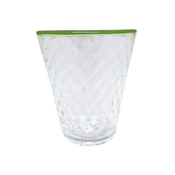 Pineapple Texture Highball Glass, Green Rim | Mariposa Glassware