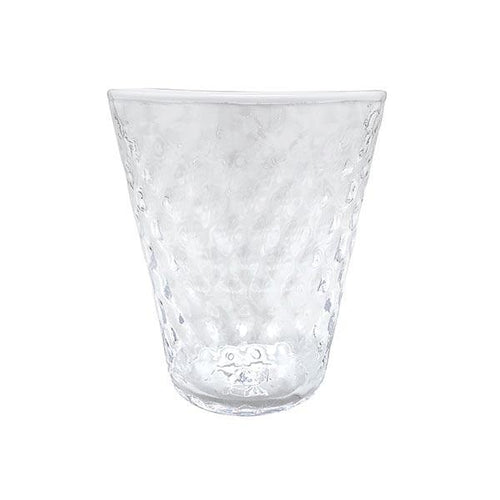 Pineapple Texture Highball Glass, White Rim | Mariposa Glassware